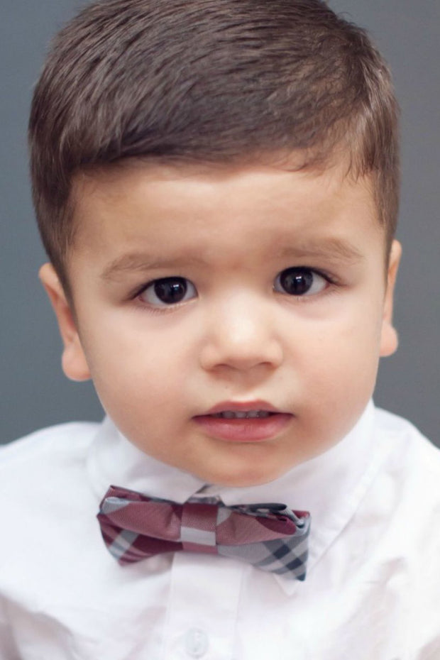 Maroon and Gray Plaid Bow Tie (Boys and Men)