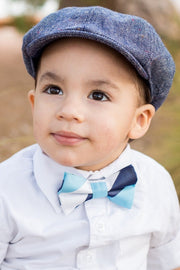 Midnight and Baby Blue Stripe Bow Tie (Boys and Men)