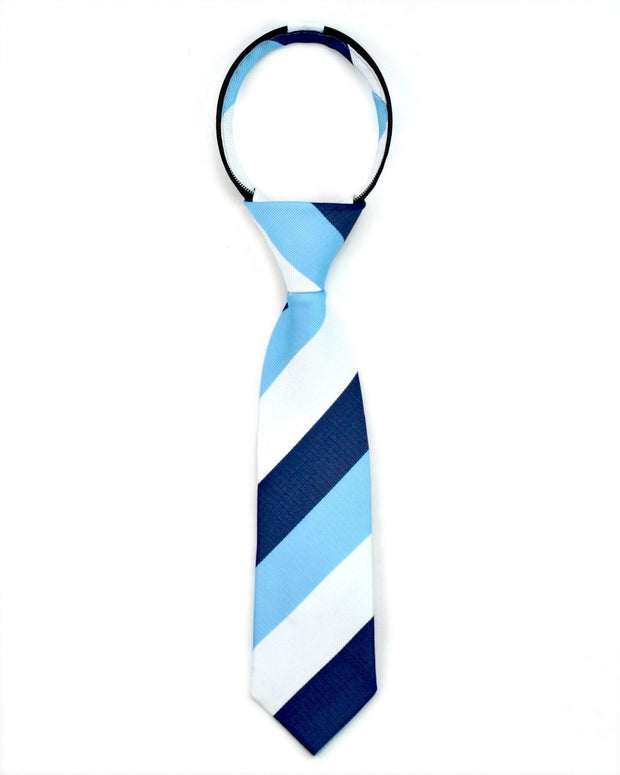 Midnight and Baby Blue Stripe Zipper Tie