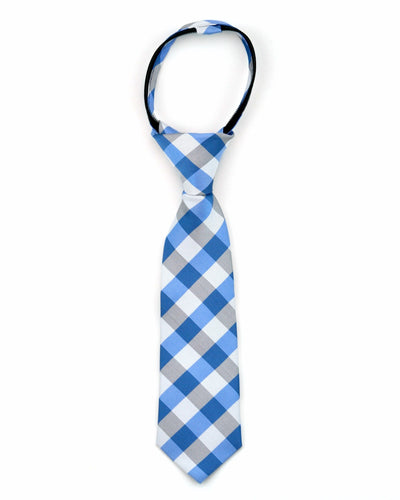 Mist and Blue Check Tie