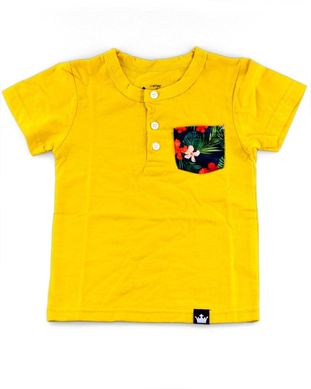 Mustard & Hawaiian Print Pocket Henley Shirt