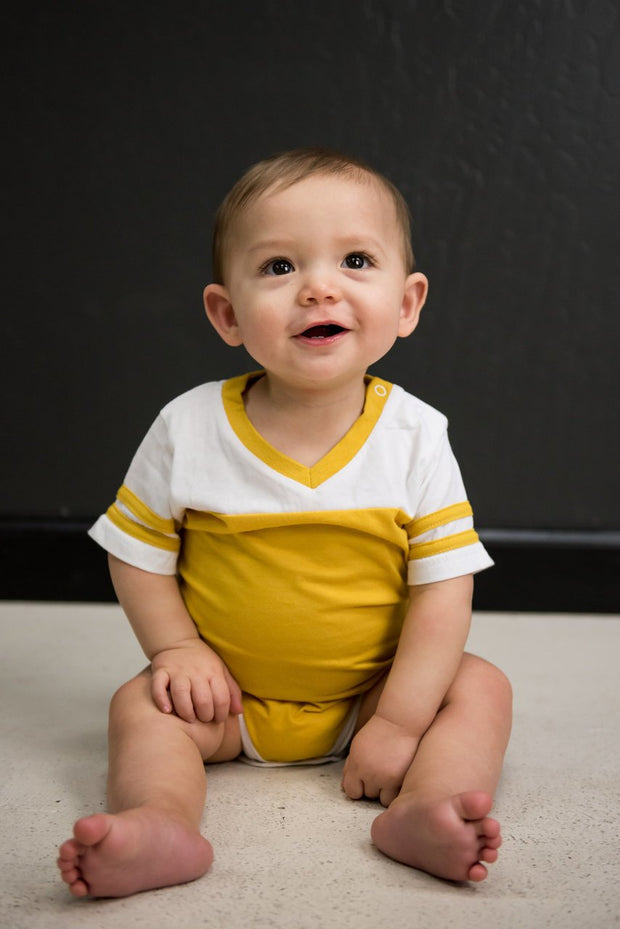 Mustard and White Jersey Bodysuit