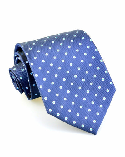 Navy and Aqua Dots Standard Necktie