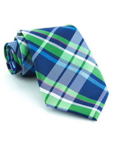 Navy and Green Plaid Standard Necktie (Adult and Youth)