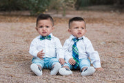 Navy and Green Plaid Bow Tie (Boys and Men)
