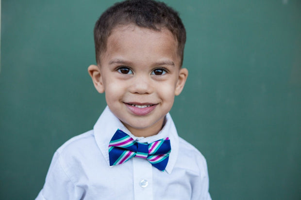 Navy and Hot Pink Stripe Bow Tie (Boys and Men)