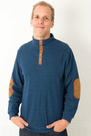 Navy Men's Vegan Suede Accent Thermal Henley Shirt
