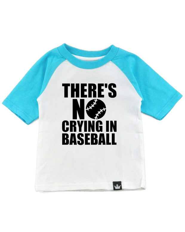 No Crying In Baseball Turquoise Half Sleeve Raglan Tee