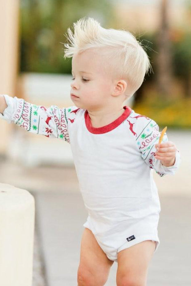 Red & Green Nordic Long Sleeve Raglan Bodysuit