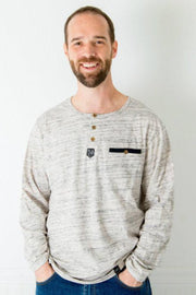 Oatmeal Slub Knit Men's Henley Shirt