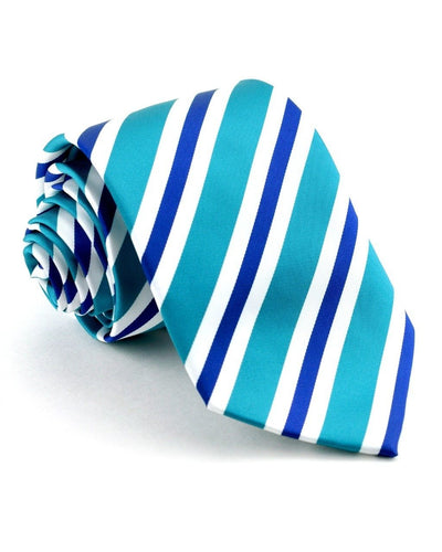 Ocean and Navy Stripe Standard Necktie