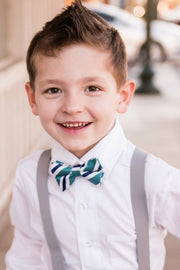 Ocean and Navy Stripe Bow Tie (Boys and Men)