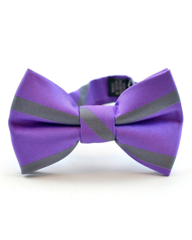 Orchid and Gray Stripe Bow Tie (Boys and Men)