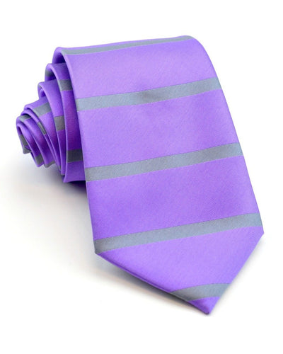 Orchid and Gray Stripe Standard Necktie