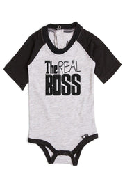 The Real Boss Gray & Black Half Sleeve Raglan Bodysuit