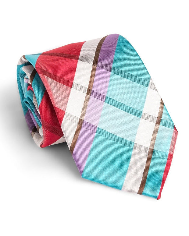 Turquoise and Cherry Plaid Standard Necktie (Adult and Youth)