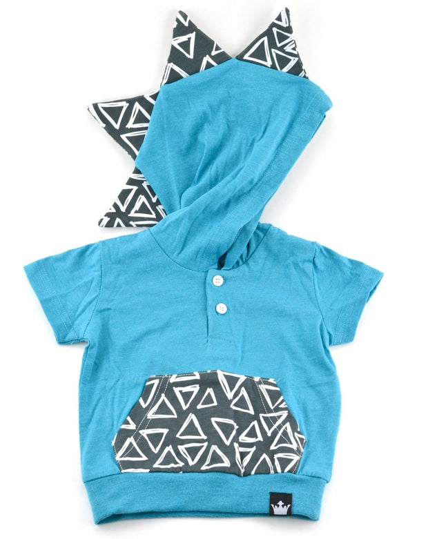 Peacock & Charcoal Triangle Short Sleeve Dino Hoodie