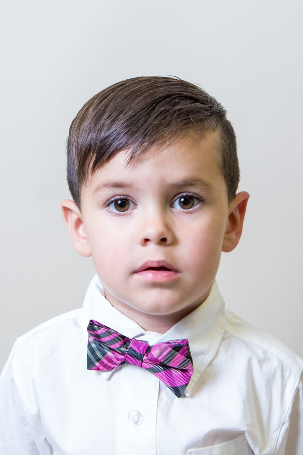 Pink and Black Plaid Bow Tie (Boys and Men)