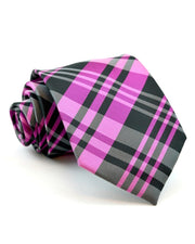 Pink and Black Plaid Full Size Tie