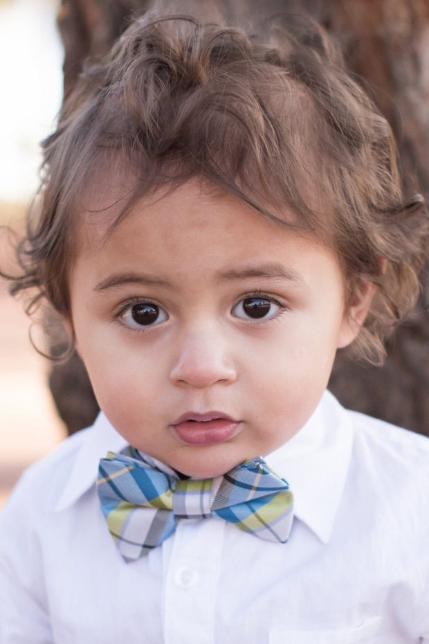 Pistachio and Blue Plaid Bow Tie (Boys and Men)