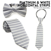 Platinum and White Horizontal Stripe Zipper Tie (Boys and Men)