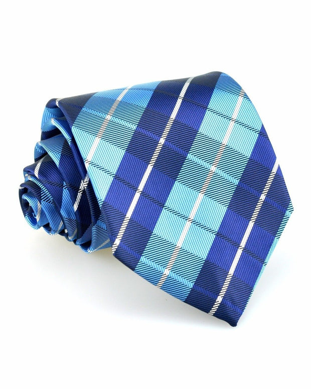 Powder and Navy Plaid Standard Necktie