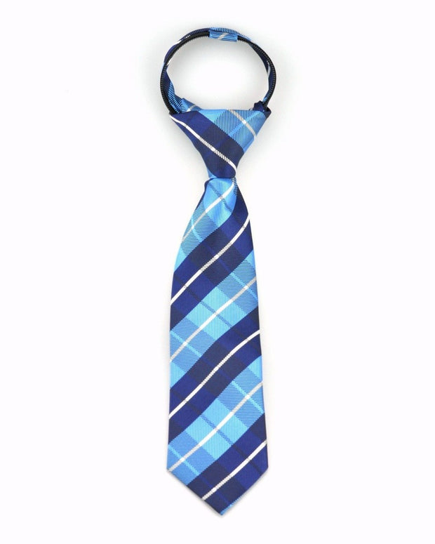 Powder and Navy Plaid Zipper Tie