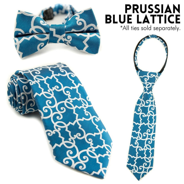 Prussian Blue Lattice Zipper Tie (Boys and Men)
