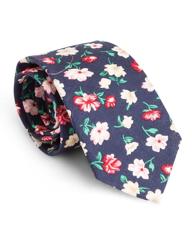 Blush and Navy Floral Standard Necktie (Adult and Youth)