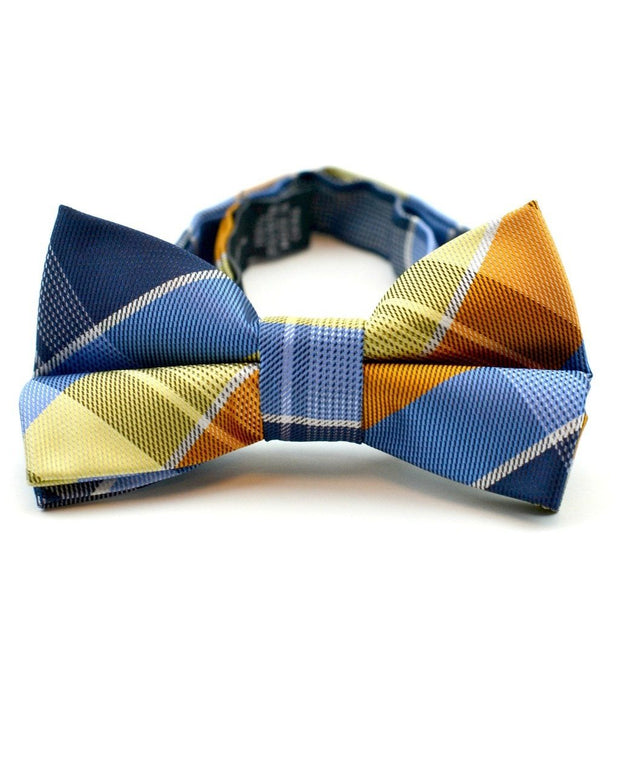 Pumpkin and Blue Plaid Bow Tie (Boys and Men)