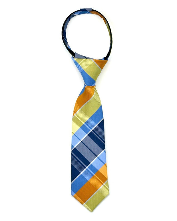Pumpkin and Blue Plaid Zipper Tie