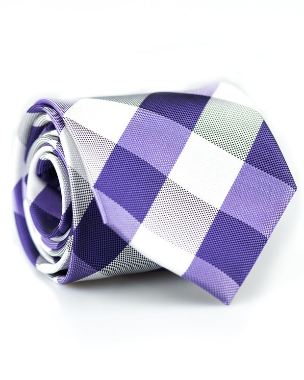 Purple and White Check Standard Necktie