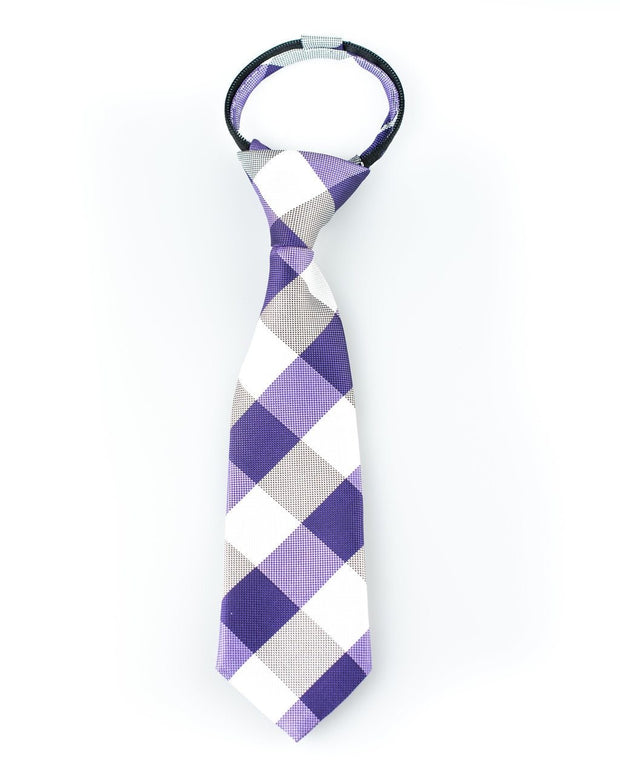 Purple and White Check Zipper Tie