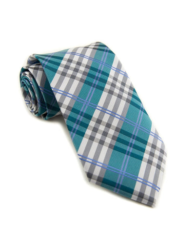 Cerulean and Steel Plaid Standard Necktie (Adult and Youth)