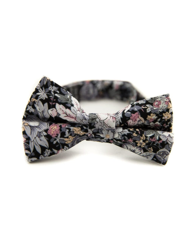 Charcoal and Rose Floral Bow Tie (Boys and Men)