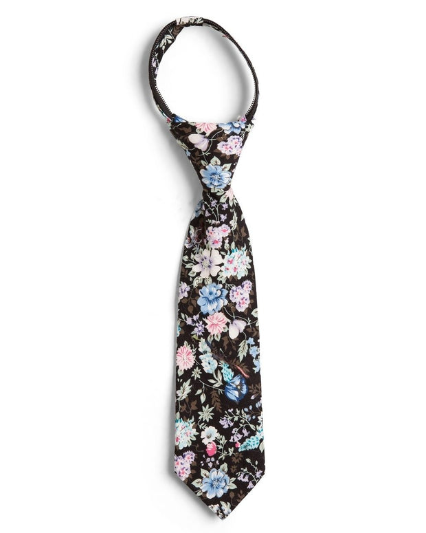 Black and Baby Blue Floral Zipper Tie (Boys and Men)