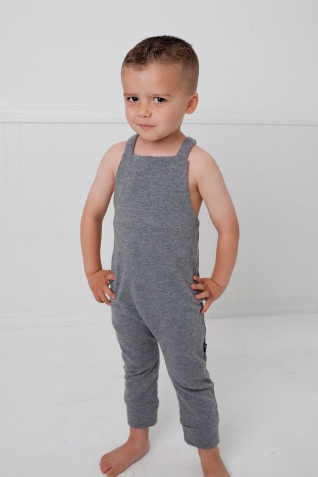 Charcoal French Terry Overall Romper