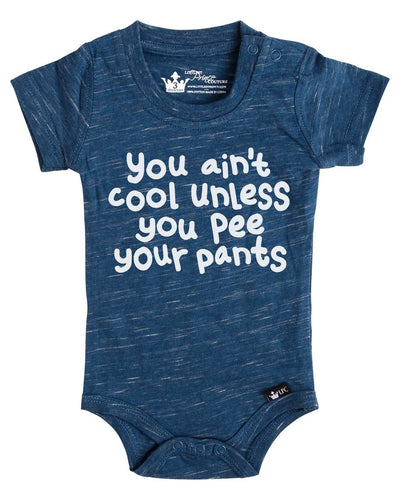 Pee Your Pants Navy Slub Knit Crew Bodysuit