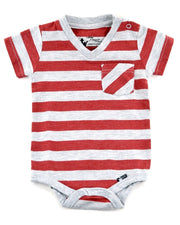 Gray & Red Stripe V-Neck Bodysuit