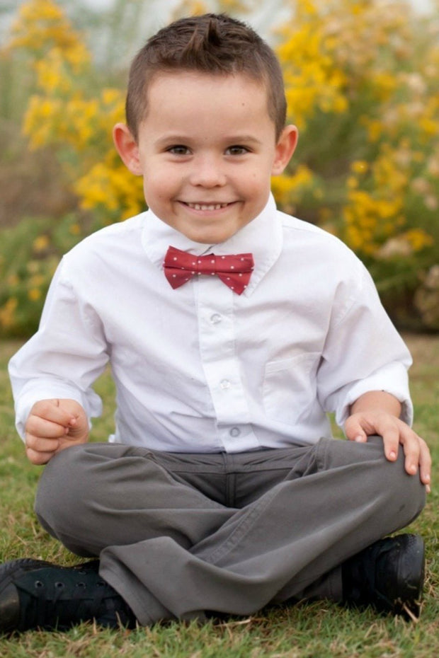 Crimson & White Dots Bow Tie (Boys and Men)