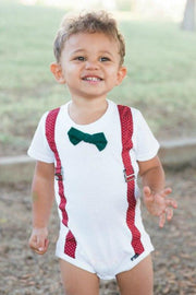 Red Dots Faux Suspender Bodysuit with Interchangeable Bow Ties