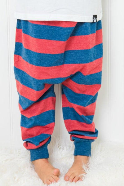 Red & Navy Stripe Harem Pants