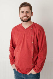 Red Men's Side Button V-Neck Shirt