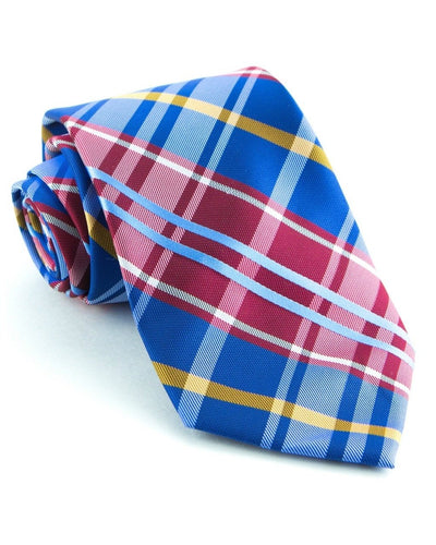 Royal and Crimson Plaid Standard Necktie (Adult and Youth)