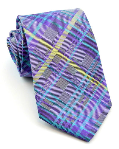 Royal Purple and Yellow Plaid Standard Necktie