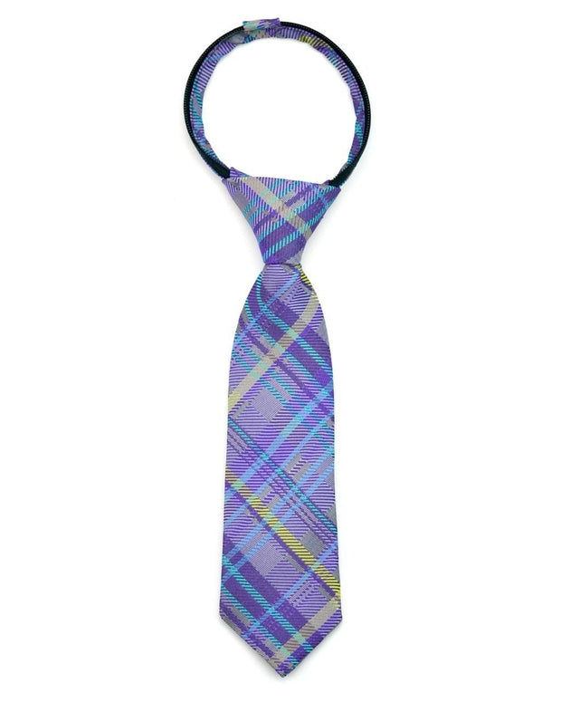 Royal Purple and Yellow Plaid Zipper Tie