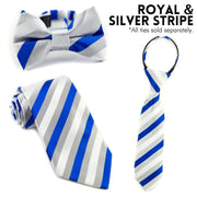 Royal and Silver Stripe Zipper Tie (Boys and Men)