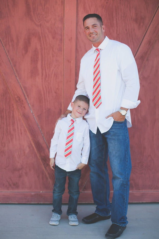 Ruby and Peppermint Stripe Zipper Tie (Boys and Men)