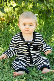 Cream & Black Stripe Long Sleeve Cardigan Romper