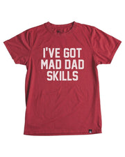 Mad Dad Skills Red Crew Neck Dad Tee